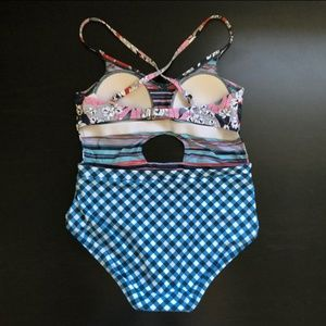 Social Angel Swim - Social Angel Gingham Cut Out One Piece Swimsuit
